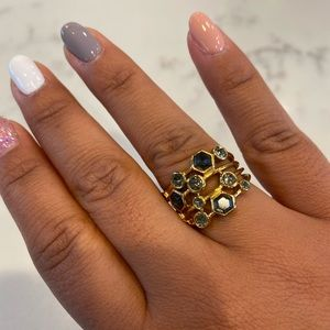 Stella & Dot Stackable Gold Ring with Gray Stones